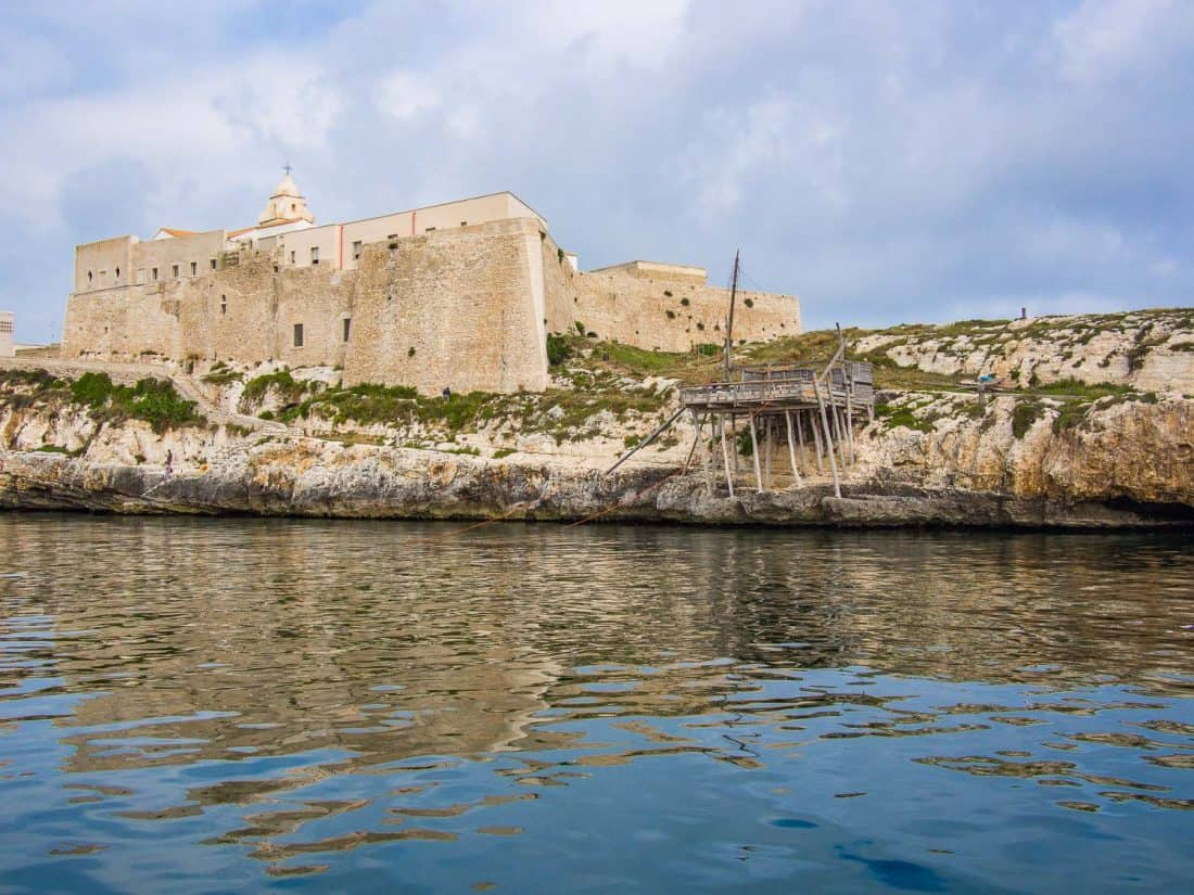 Punta San Francesco and the trabucco wooden fishing platform in Vieste in Puglia, Italy