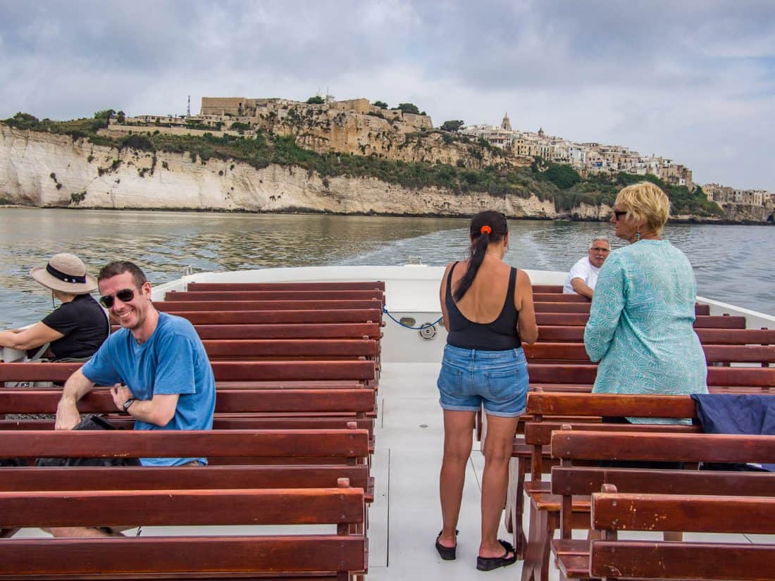 The view of Vieste from our Desiree grotto boat tour, which is one of the best things to do in Vieste Italy