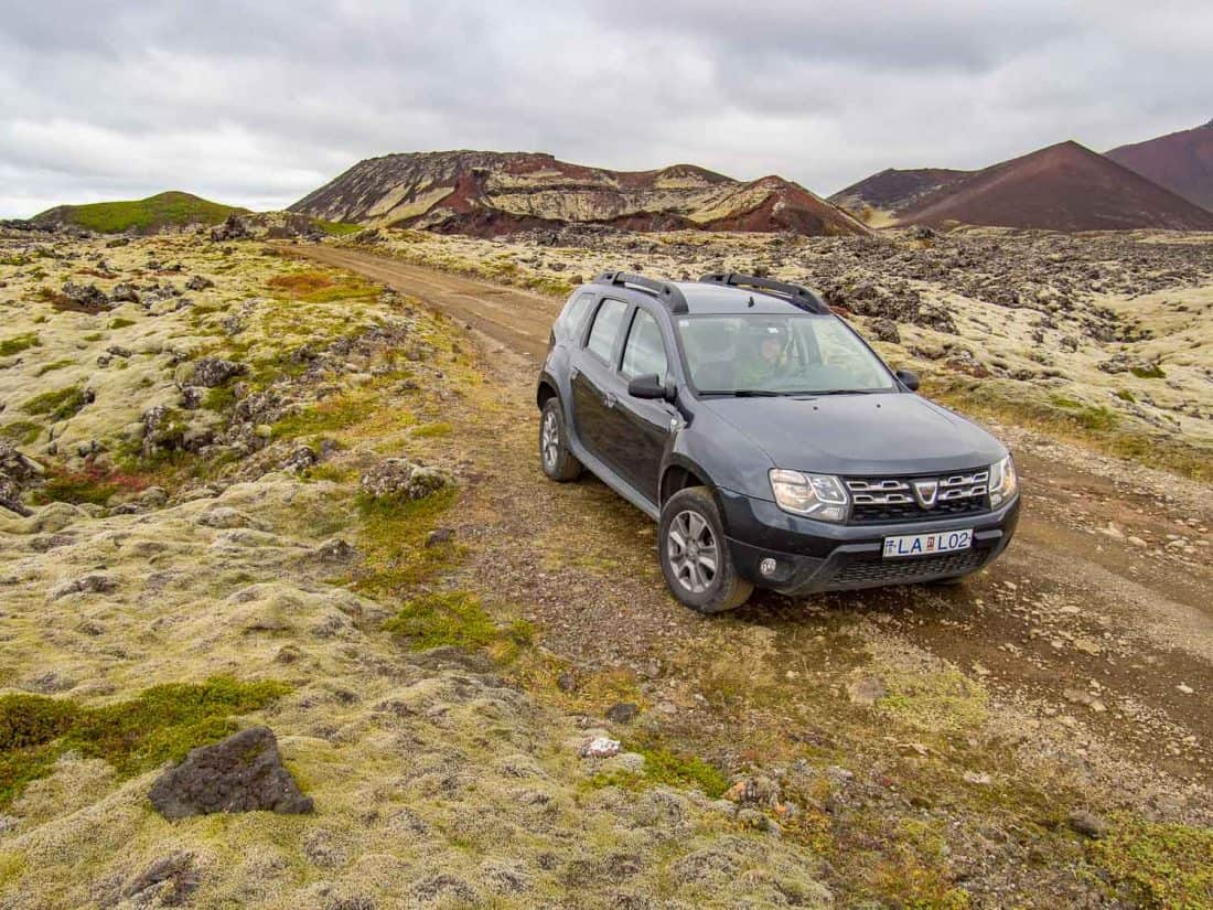 Our Dacia Duster 4WD rental car in the Berserkjahraun lava fields on our Iceland itinerary