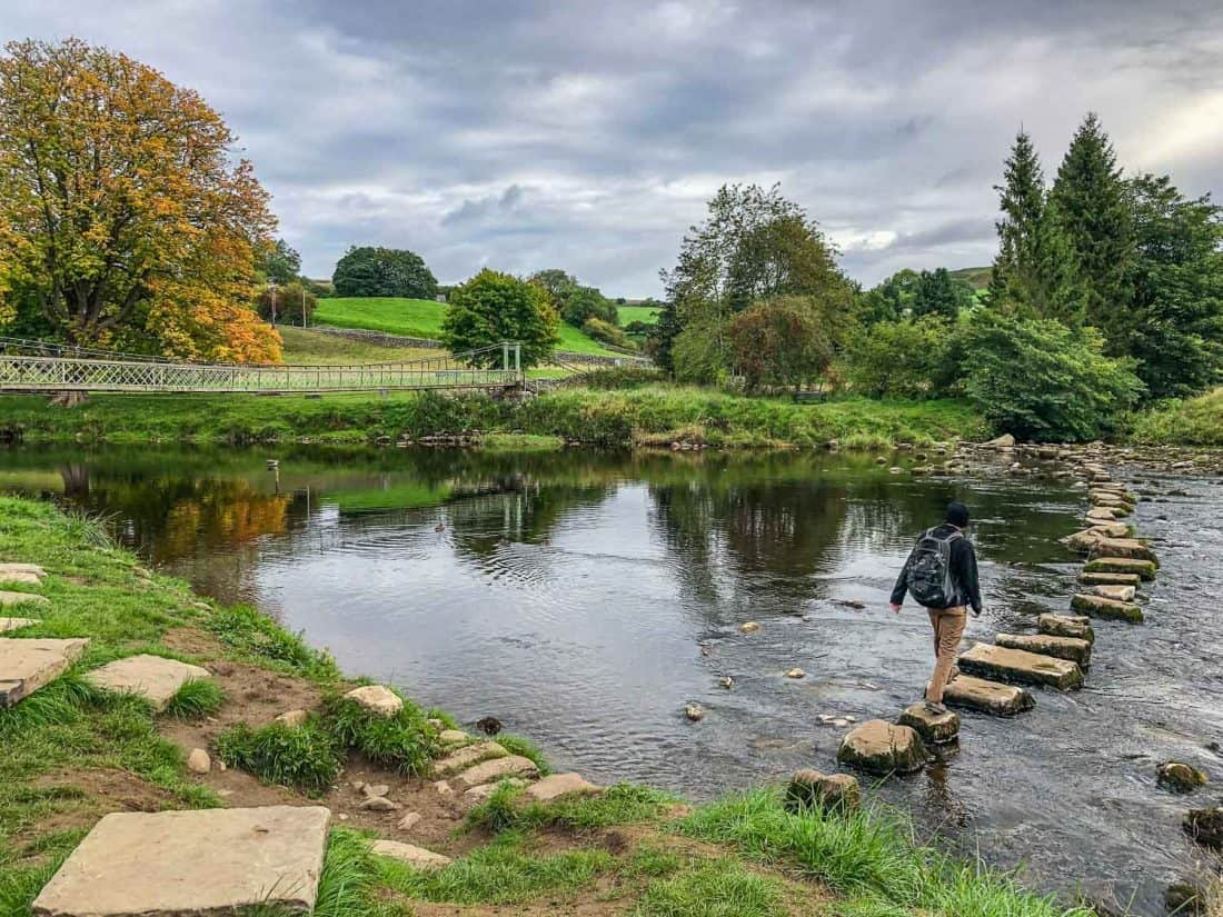 Hebden suspension bridge and stepping stones on the Dales Way Day 2