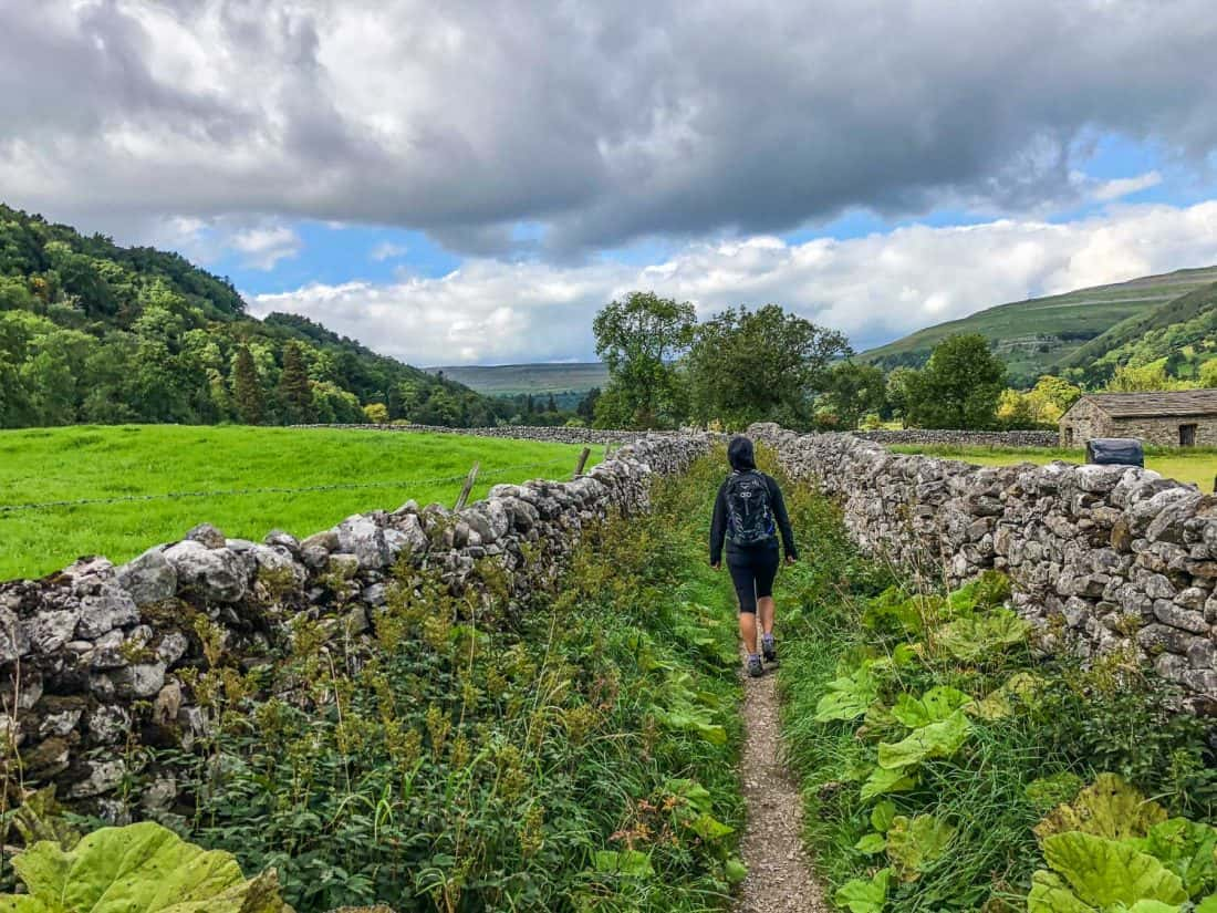 Erin walking from Kettlewell to Hubberholme on the Dales Way