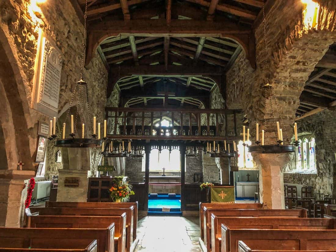 Wooden rood loft at St Michael and All Angels Church in Hubberholme on the Dales Way in Yorkshire, England