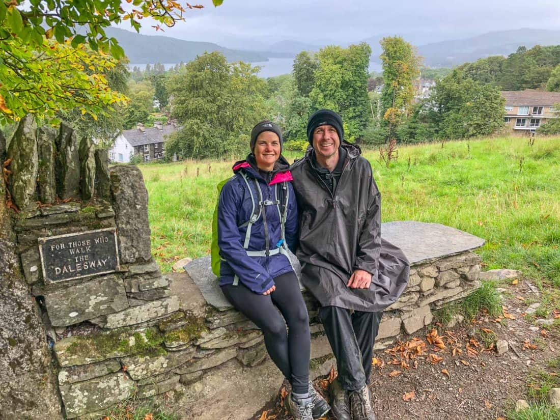 Erin and Simon at the bench in Bowness that marks the end of the Dales Way