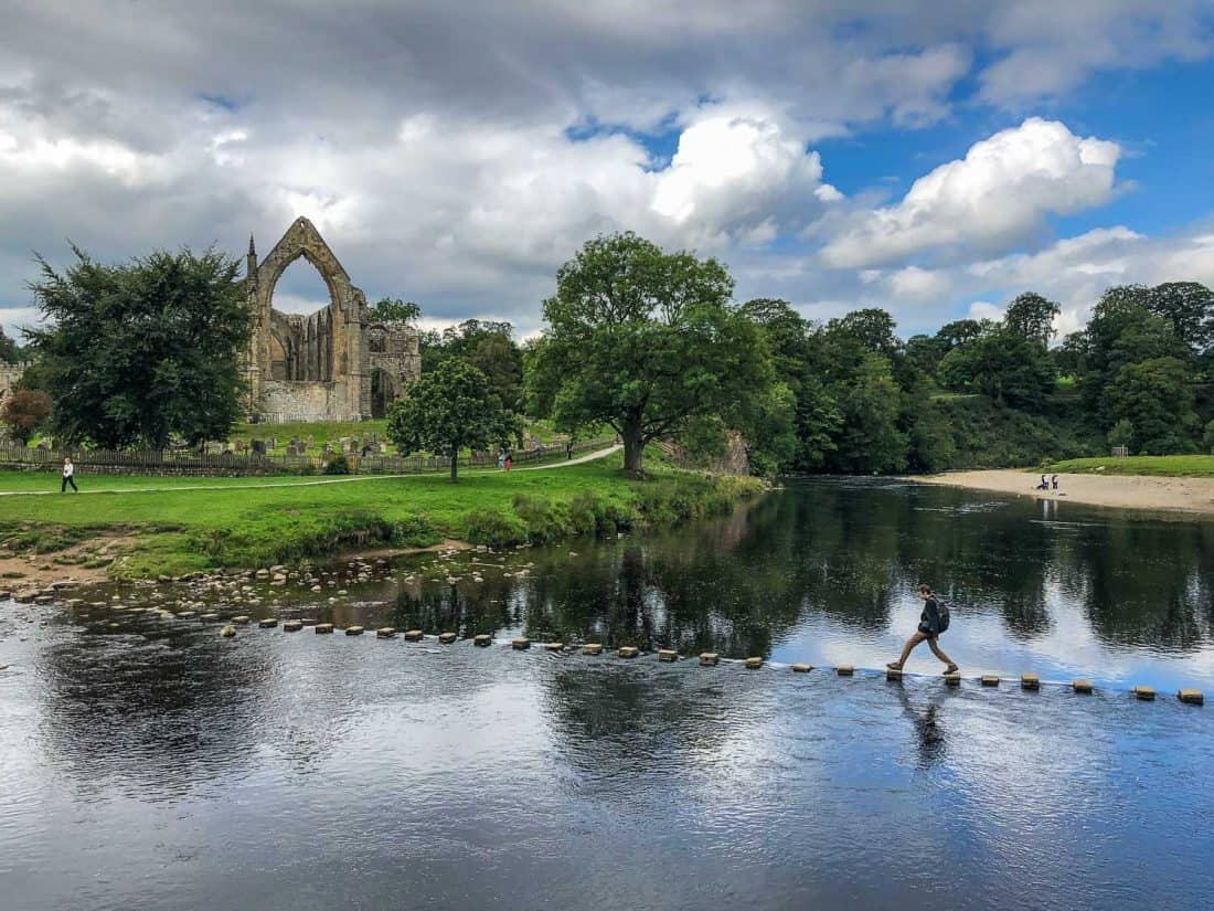Bolton Abbey Stepping Stones on the Dales Way walking path