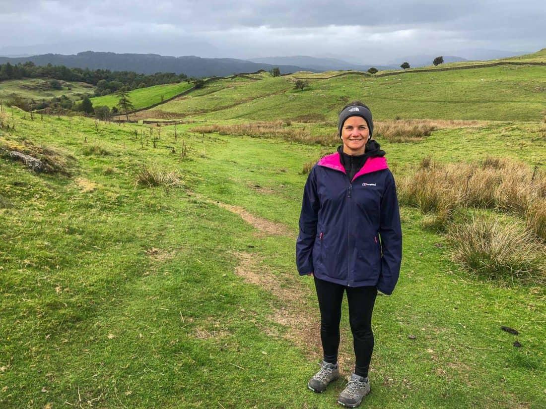 Erin wearing the Berghaus Stormcloud Waterproof Jacket and leggings on the Dales Way