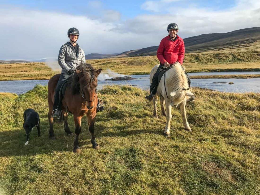 Horse riding Icelandic horses at Sturlureykir Horse Farm near Husafell in West Iceland