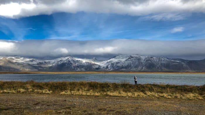 Photographing snowy mountains on the Snaefellsness Peninsula in September