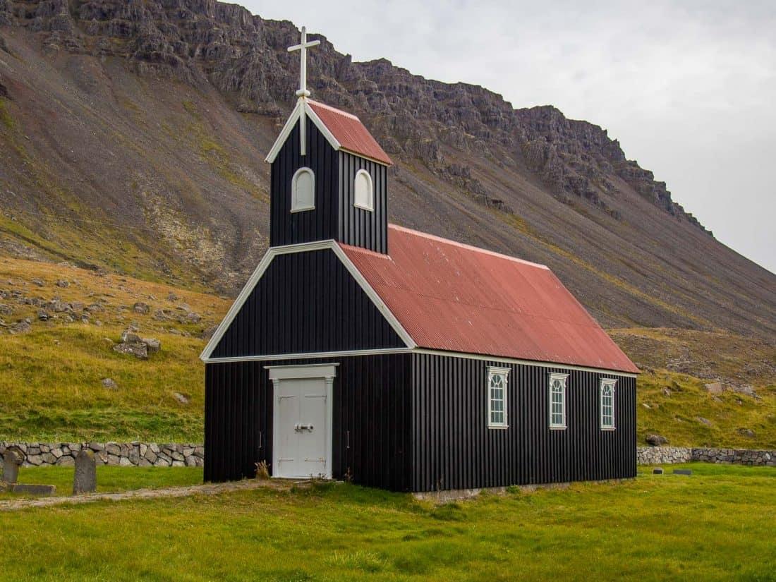 Black church at Rauðasandur Beach in Westfjords