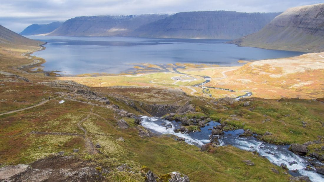 Fjord views from the top of Dynjandi waterfall in Westfjords, Iceland
