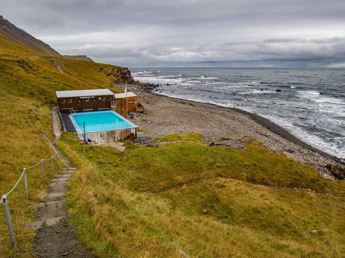 Krossneslaug swimming pool in Strandir, Westfjords region of Iceland