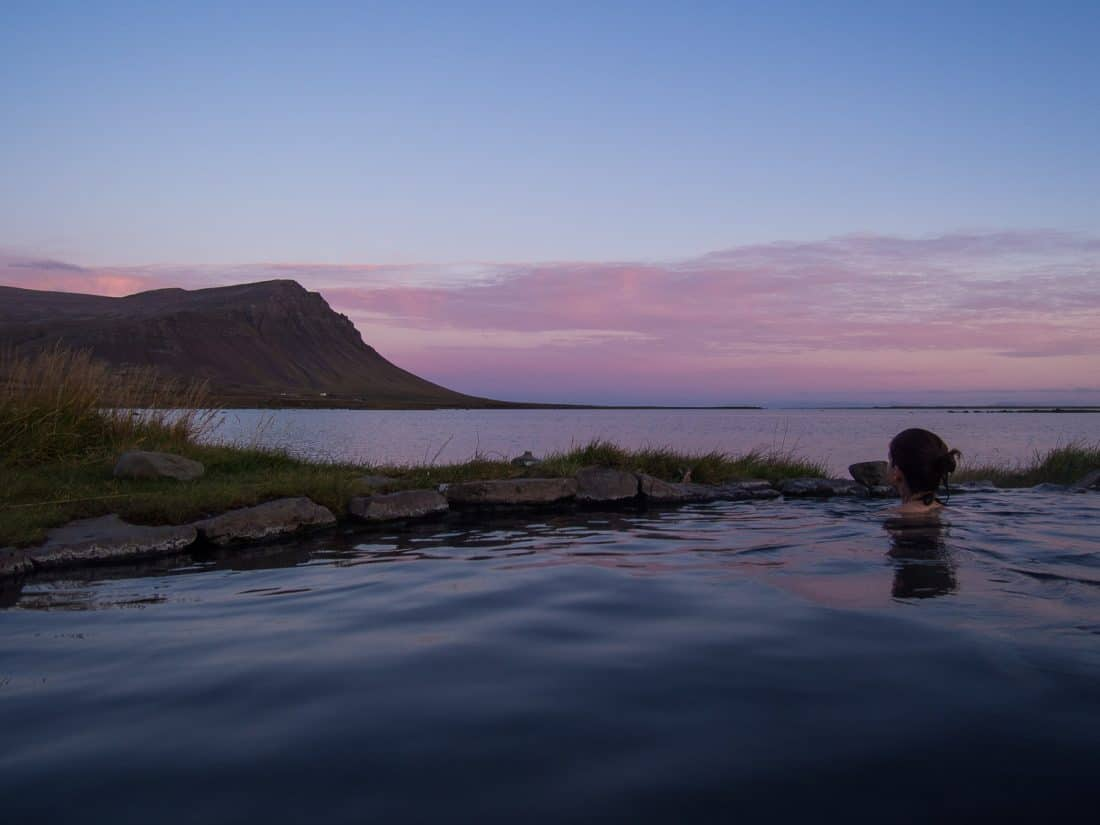 Soaking in the hot pot at Birkimelur Swimming Pool in Westfjords, Iceland