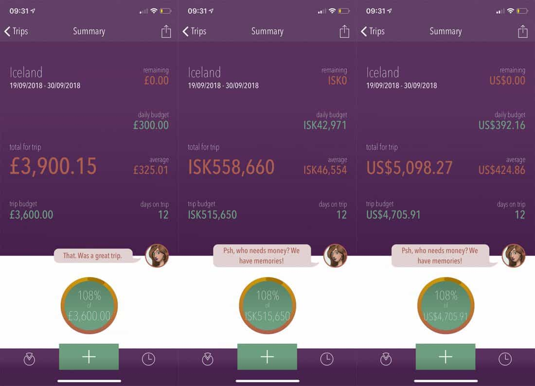 Iceland trip cost - a summary of our travel budget for an Iceland road trip in the Trail Wallet app