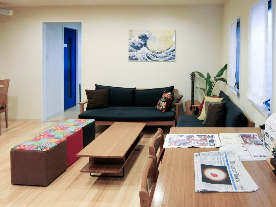 Living room at K's House Hiroshima hostel in Japan