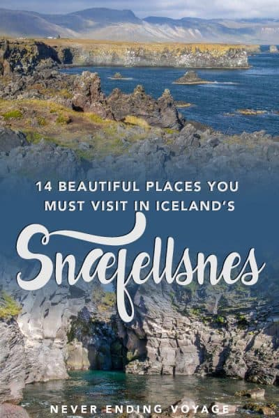Here are 14 beautiful places NOT to miss on Iceland's Snaefellsnes Peninsula. #iceland #snaefellsnes #icelandtravel #placestovisitiniceland