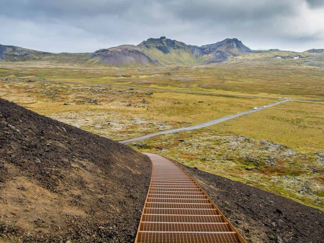 Stairs up Saxholar Crater in Snaefellsness Peninsula, Iceland