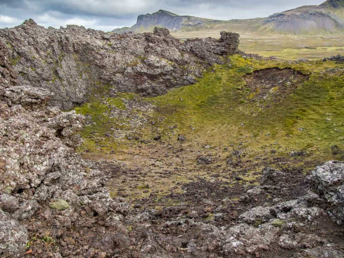 Inside the crater at Saxholar Crater in Snaefellsness Peninsula, Iceland