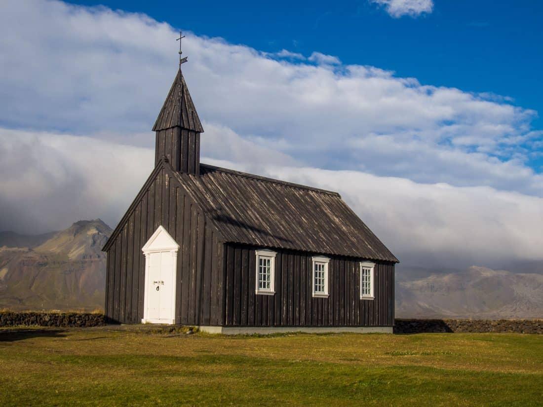 Búðakirkja is a little black wooden church in the hamlet Búðir in Snaefellsness Iceland