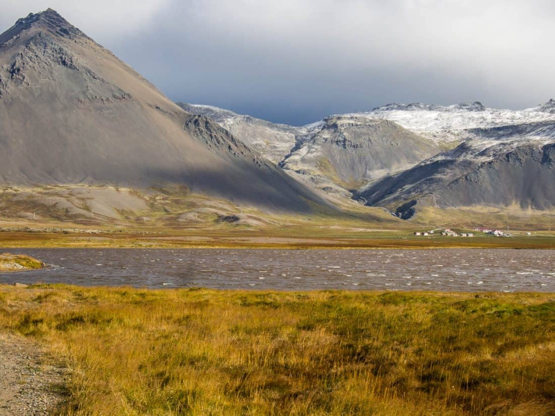 Snaefellsness mountains in September snow