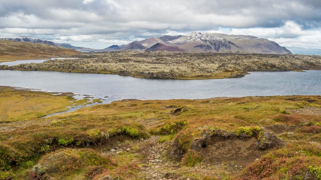 Lake view at viewpoint on Road 56 in Snaefellsness Iceland