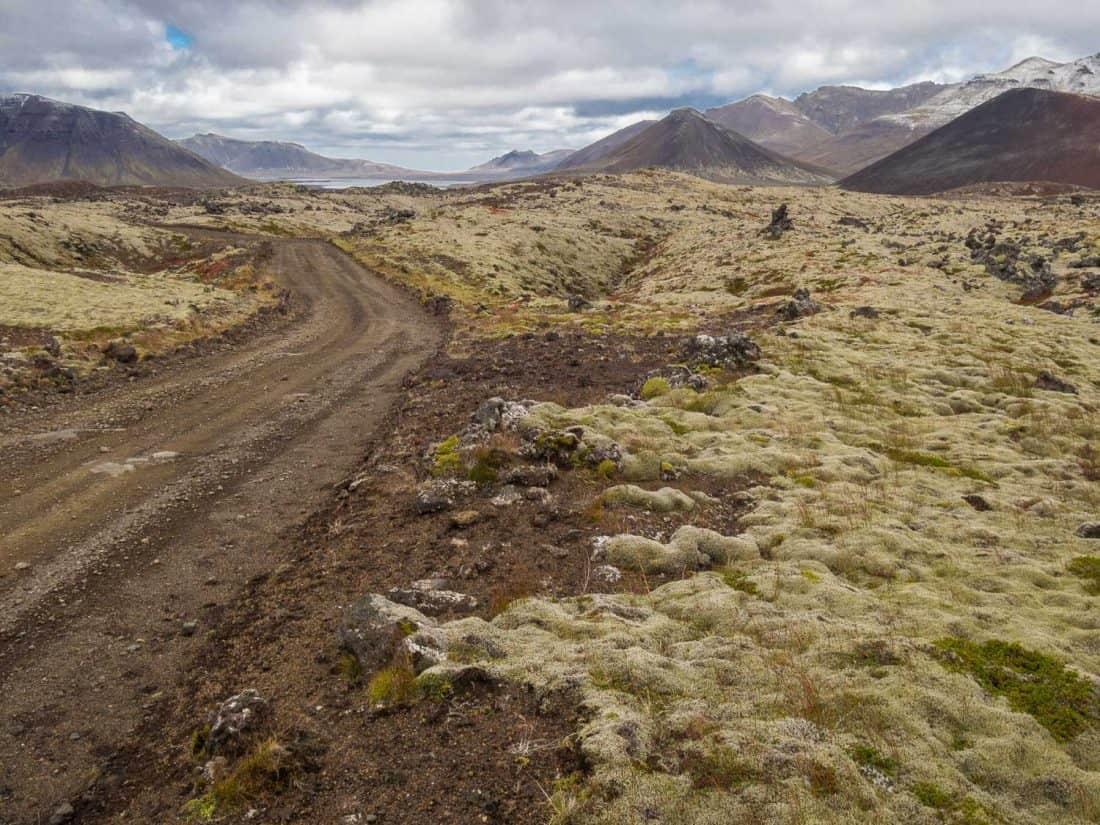 Dirt road 558 through Berserkjahraun lava fields on Snaefellsness Peninsula, Iceland