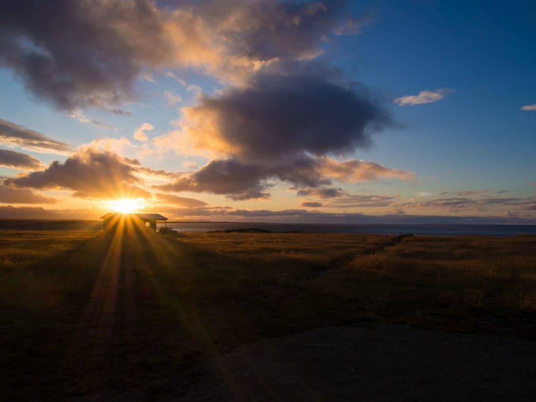 Tradir Guesthouse cabin at sunrise on the Snaefellsness Peninsula, Iceland