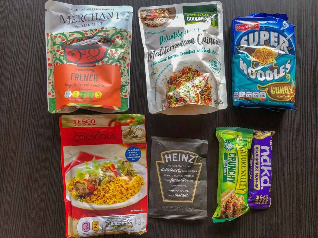 Some of the food we brought to Iceland for easy meals