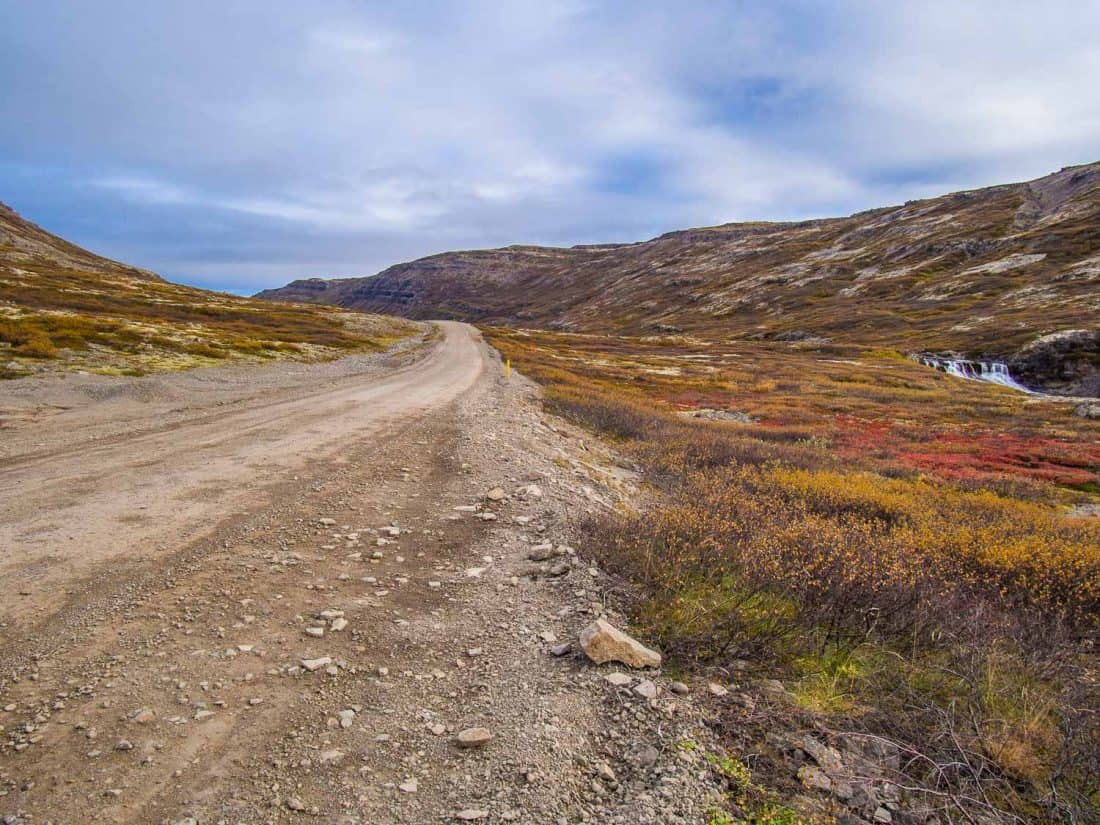 Autumnal colours on a mountain pass in the Westfjords, Iceland in September