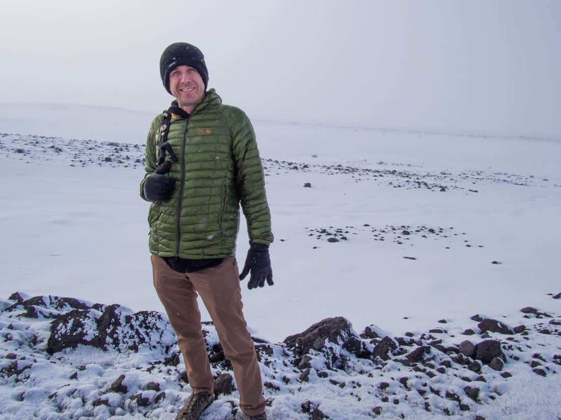 Simon wearing Bluffworks original pants in Iceland in the snow
