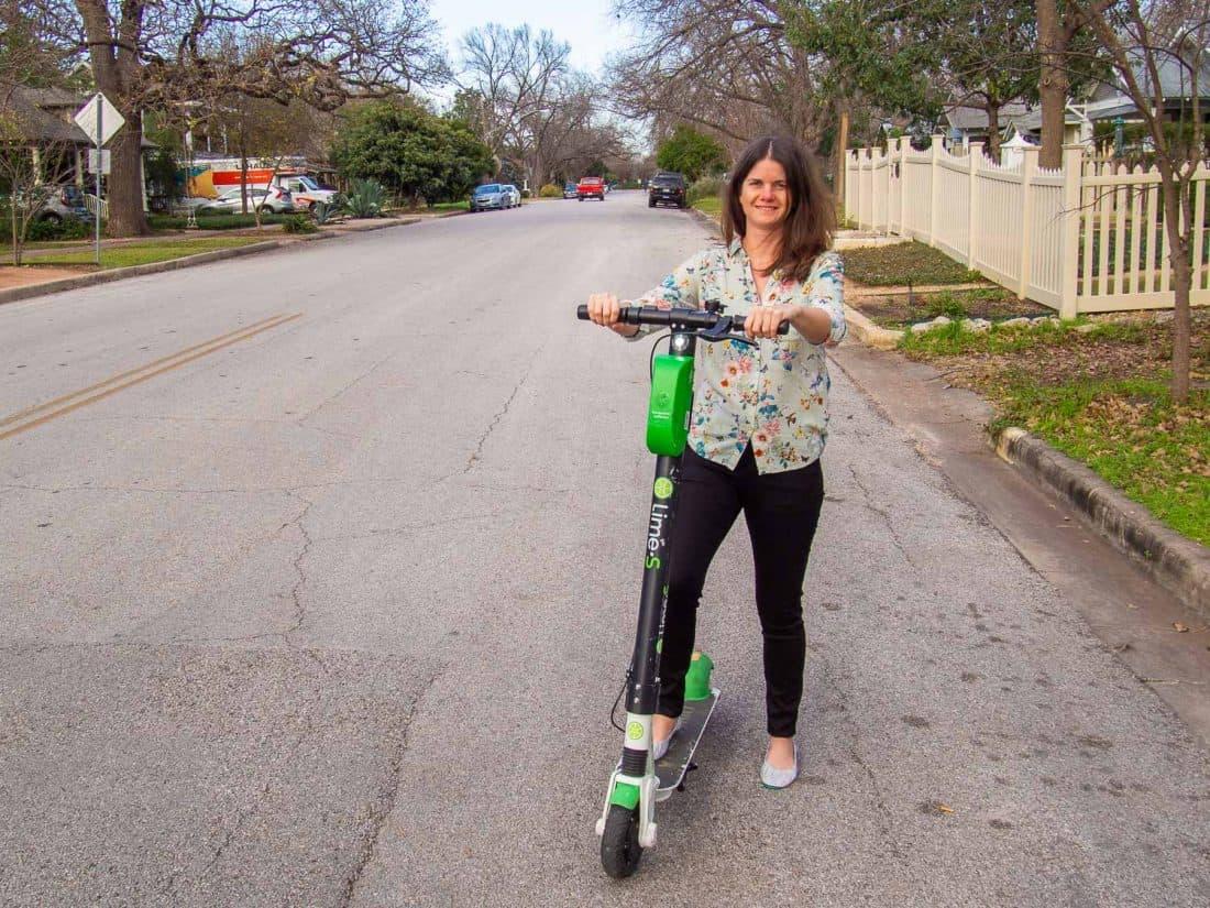 Scootering around Austin in my Aviator jeans
