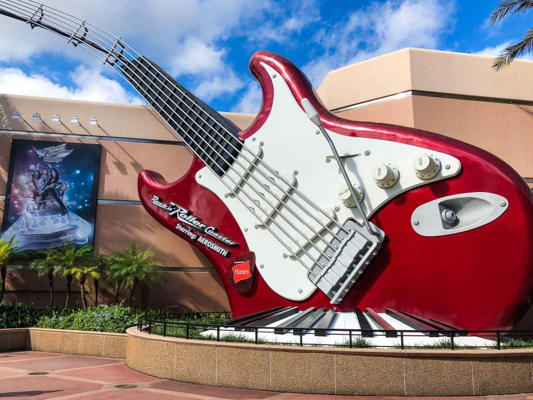 The famous large guitar outside Rock 'n' Roller Coaster, the most exciting ride at Hollywood Studios, Disney World