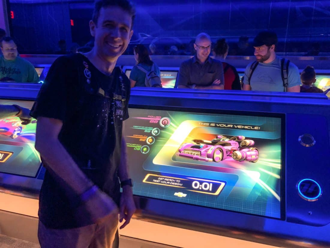 Simon designing our car at Test Track, one of the best rides at Epcot in Disney World Florida