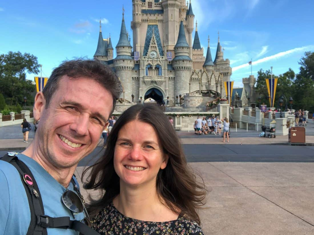 Simon and Erin of Never Ending Voyage at the Magic Kingdom Castle in Disney World Florida