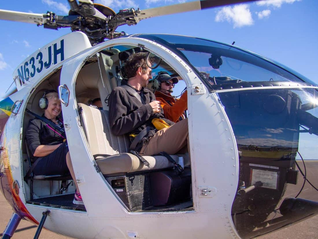 Preparing for our doors of helicopter tour in Kauai with Jack Harter