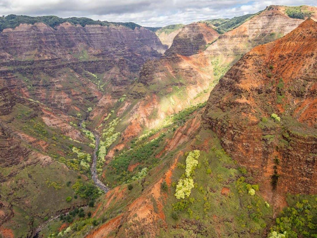 Waimea Canyon on a doors off helicopter Kauai tour with Jack Harter in Hawaii