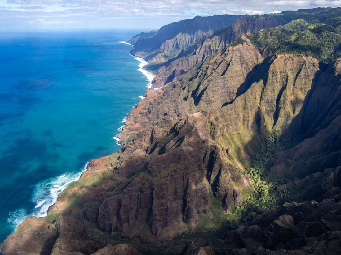 The Napali Coast in Kauai on a Jack Harter doors off helicopter trip in Hawaii