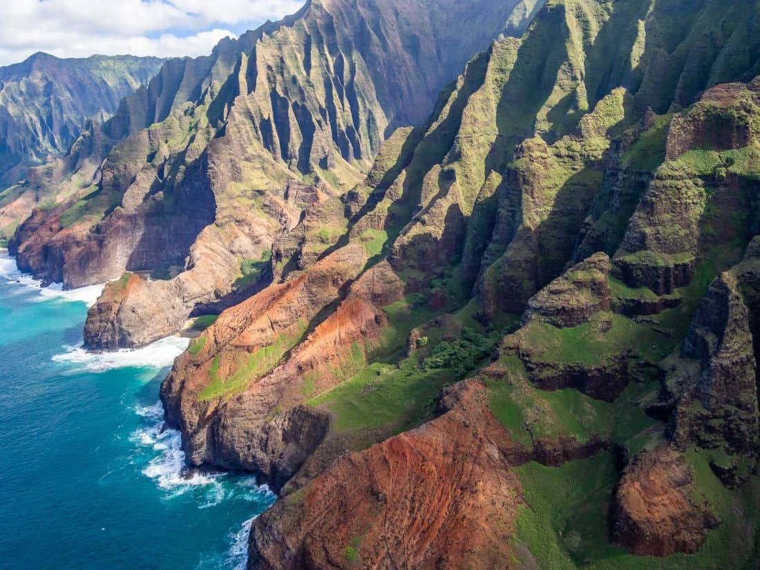 The stunning Napali coast on Kauai on a doors off helicopter tour with Jack Harter