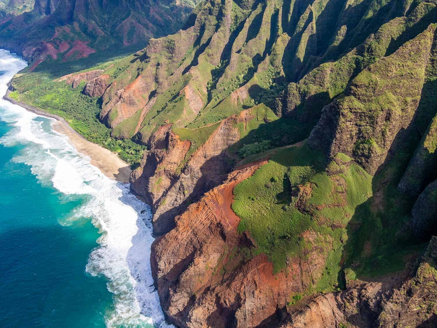 The Napali Coast on a doors off helicopter Kauai trip - a review of Jack Harter's doors off helicopter tours