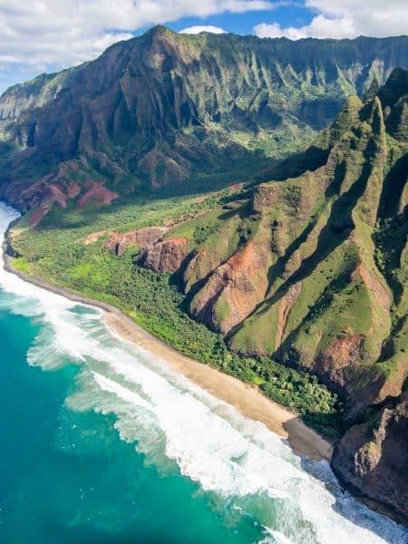 A beach on the Napali coast on Kauai on a doors off helicopter tour with Jack Harter