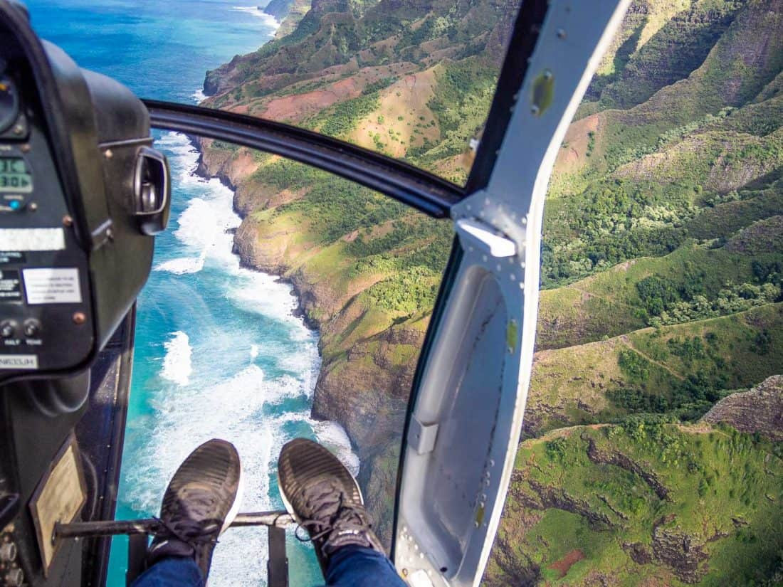 Sitting next to the lack of door on a Jack Harter helicopter tour on Kauai and the Napali Coast