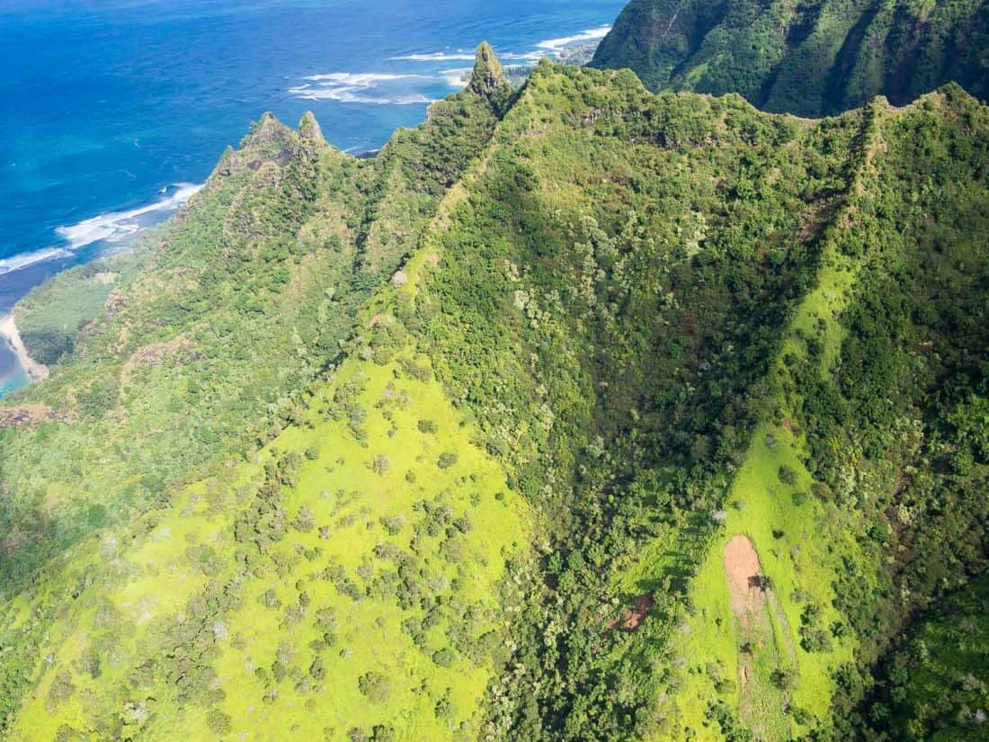 The Napali coast on Kauai on a doors off helicopter tour with Jack Harter