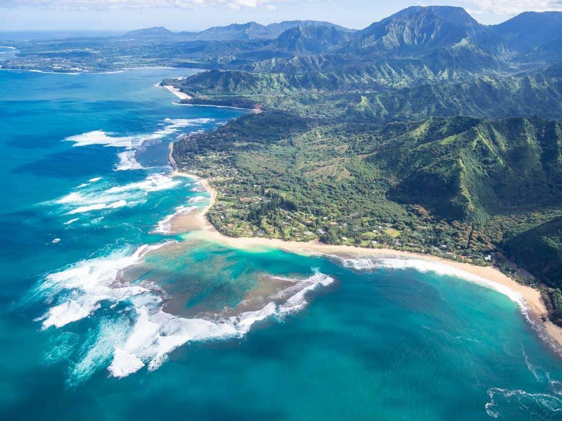 The north shore of Kauai on a Jack Harter doors off helicopter Kauai tour