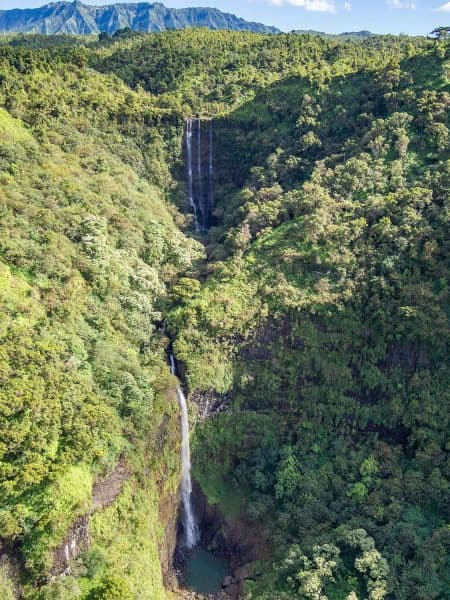 Waterfall at MountWaialeale on a doors off helicopter Kauai tour with Jack Harter