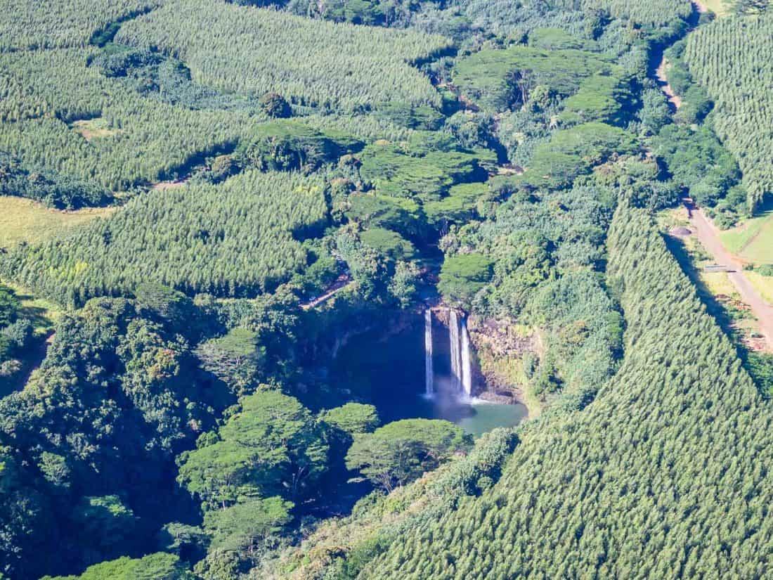 Wailua Falls from a helicopter on Kauai
