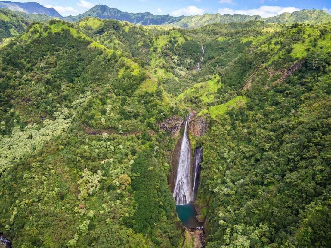 Manawaiopuna Falls aka Jurassic Park Falls on Kauai on our Jack Harter doors off helicopter tour