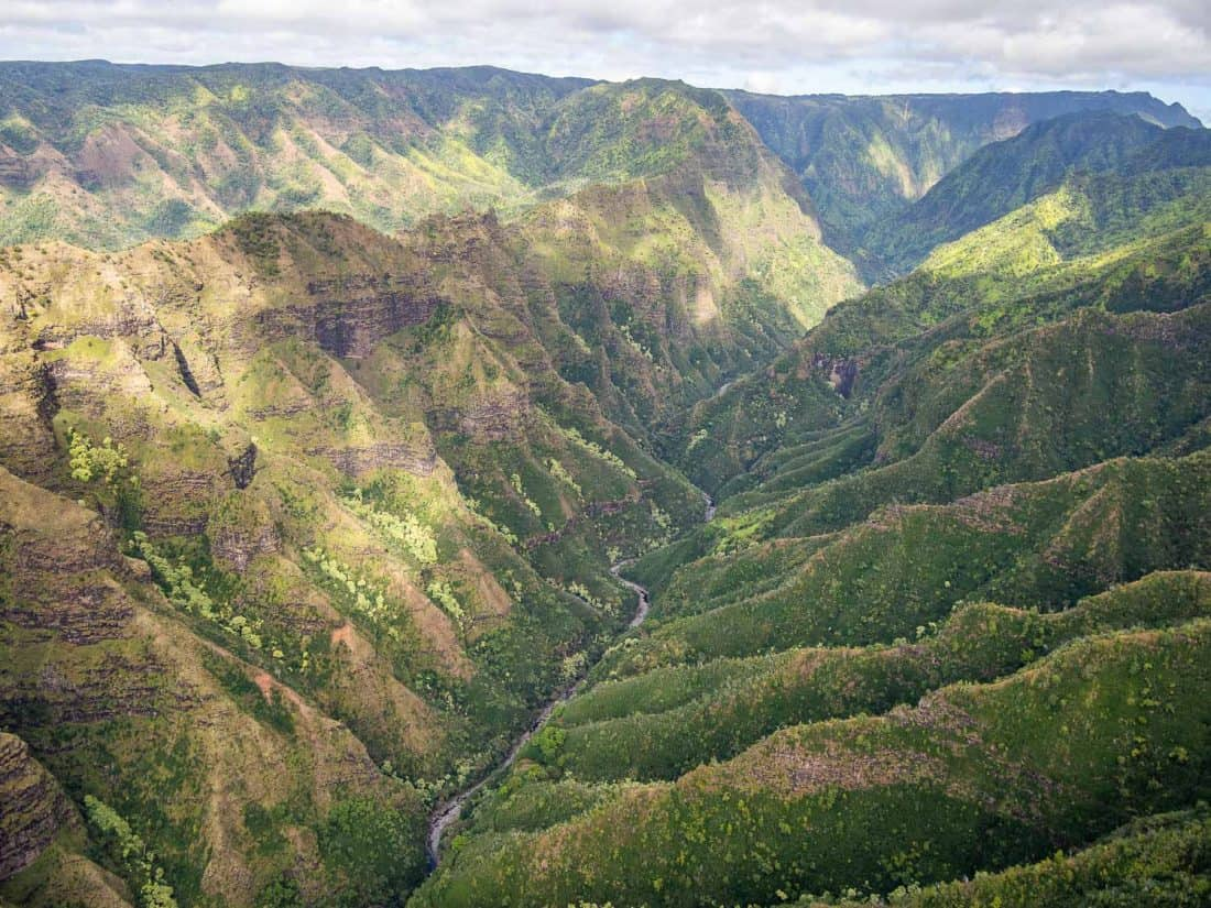 Olokele Canyon on a Jack Harter doors off helicopter tour of Kauai island, Hawaii
