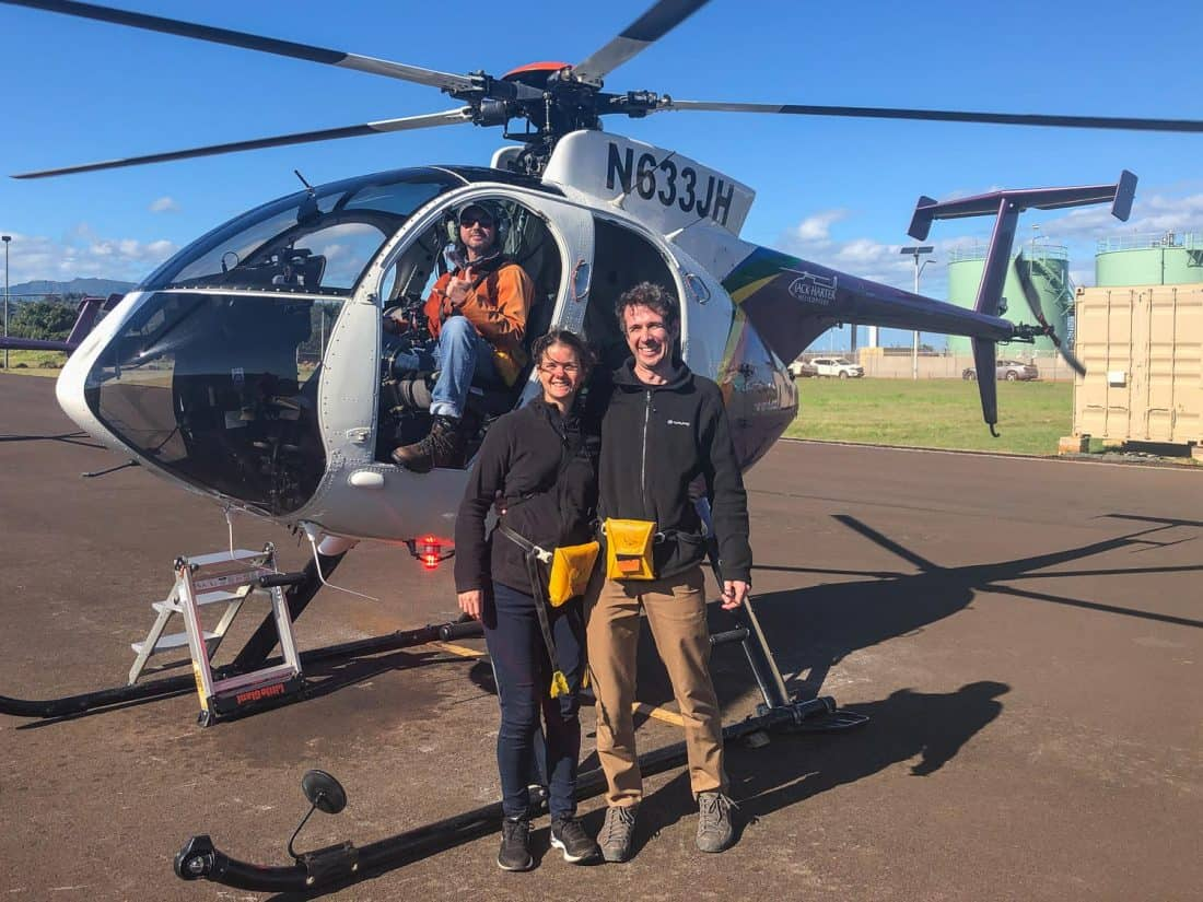 Erin and Simon after their doors off helicopter tour of Kauai with Jack Harter
