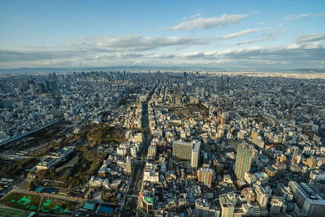 View of Osaka from Abeno Harukas 300 observatory in late afternoon