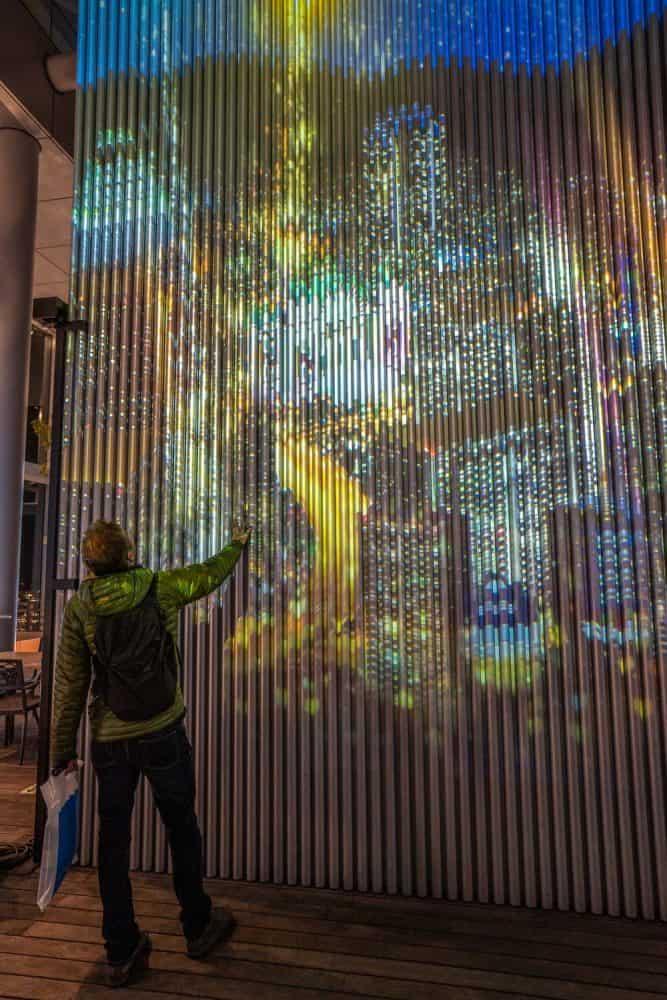 Light show at twin towers of Sky Garden at Harukas 300 Osaka