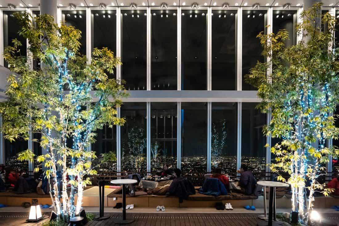 Harukas 300 Sky Garden restaurant at night in Osaka