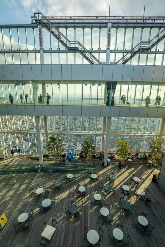 View of the Sky Garden from the 60th floor at Harukas 300 Osaka observatory